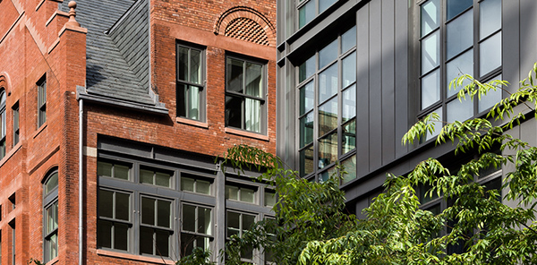 A restoration and adaptive reuse of a 1892 Calvert Vaux building informs the design of this new residential complex in the heart of Greenwich Village. 215 Sullivan Street.